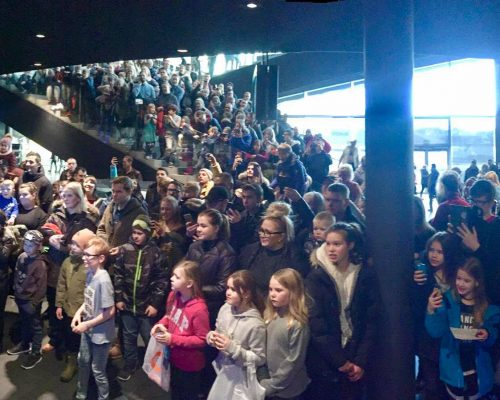 Harpa Concert Hall, Reykjavik, Iceland. Titan causes mayhem in Iceland